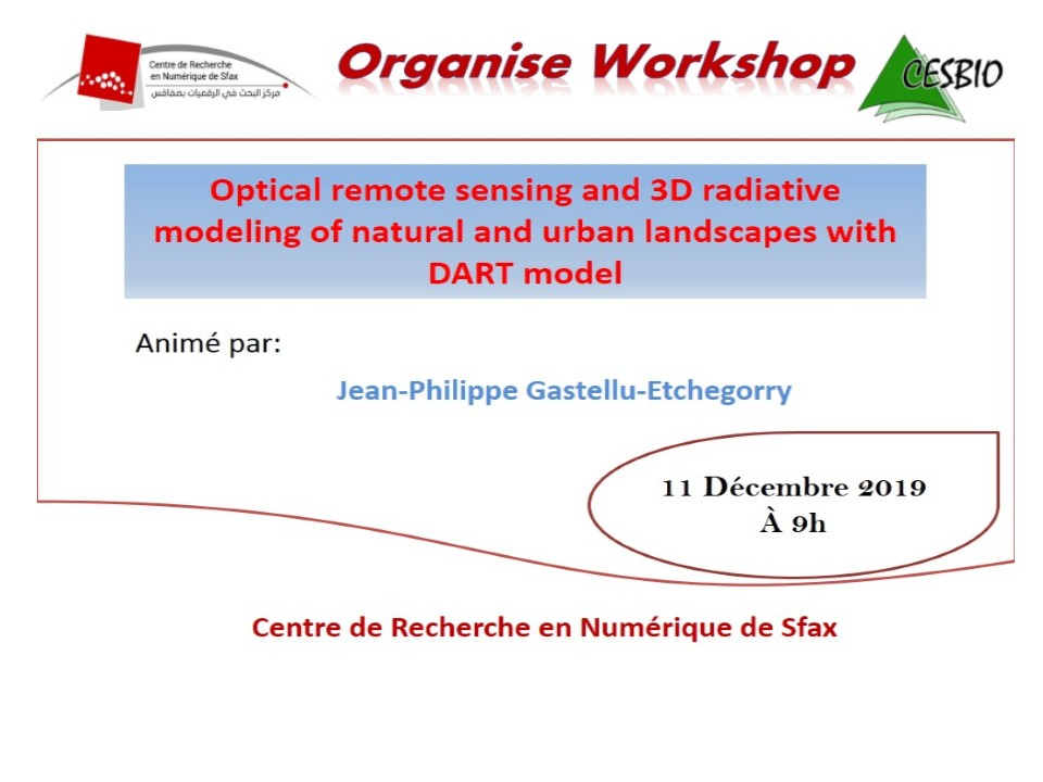 "Workshop on ""Optical remote sensing and 3D radiative modeling of natural and urban landscapes with DART model"""